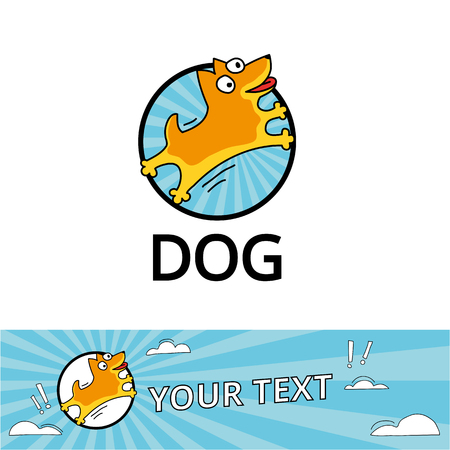 Dog logo 2018 yellow. Happy new year, chinese logotype. Holiday, zodiac label, invitation, greeting card. Happy dogs, Sign for veterinarian company. Web icon, Header for site, blue sky, White clouds. Illustration