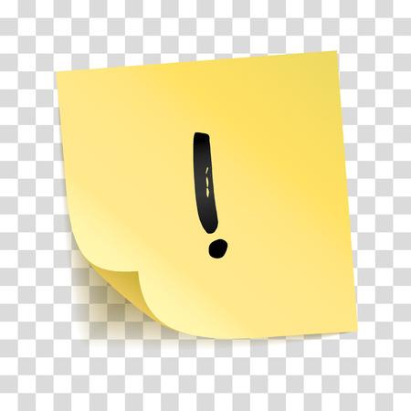 Observe el punto de exclamación de la pegatina amarilla. Aviso de información, señal de alarma. Icono de tipografía en el palo. Fondo transparente, sombra, placa de memoria. Lista de quehaceres. Mensaje fijo, texto gráfico.