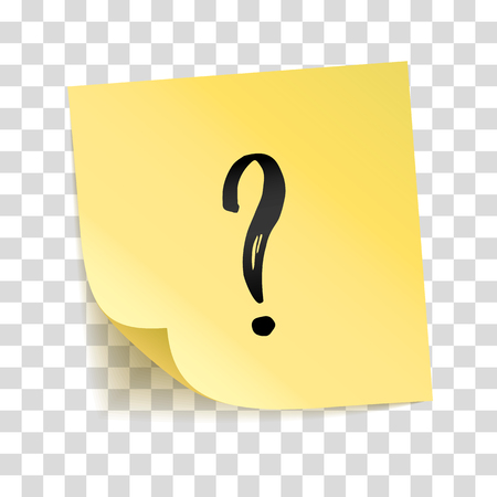 Note yellow sticker question mark, interrogation point, Information notise. Typography icon on stick. Transparent background, shadow, answer and question service. To do list. Sticky message, notice Vectores