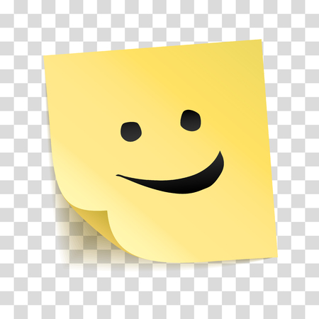 Note yellow sticker with smile vector