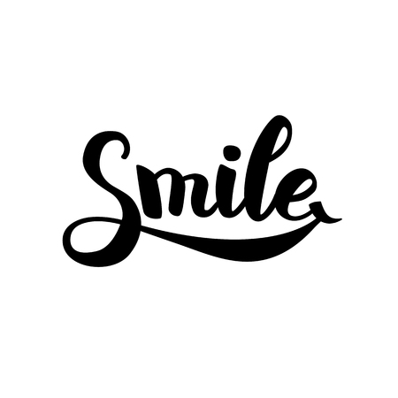Smile typography icon. Hand draw icon. Smiley laugh lettering. Positive symbol, motivation text, happy sign kids, funny poster, modern design. Healthy inspire icon.