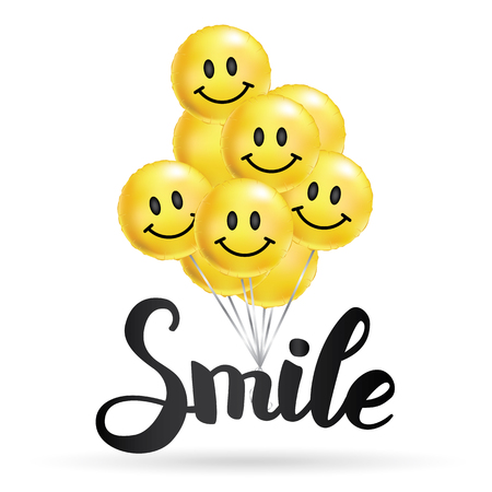Smile yellow balloons background. Fun character people, bright balloon. Comic text, humor message, greeting card, motivation design. Positive mood poster banner.