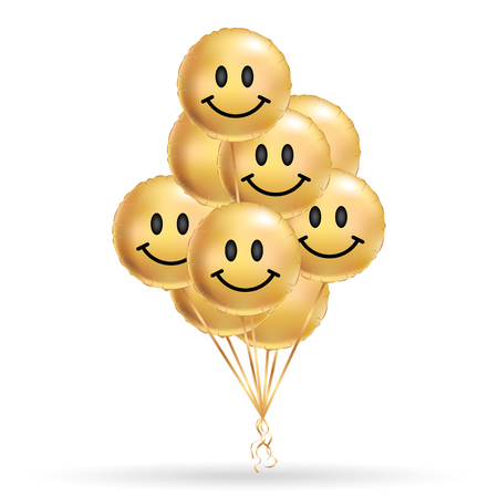 Smile gold balloons background. Fun character people, golden balloon. Smiley, Funny friends. Comic text, humor message, Greeting card, motivation design, Laughing face. Positive mood poster banner