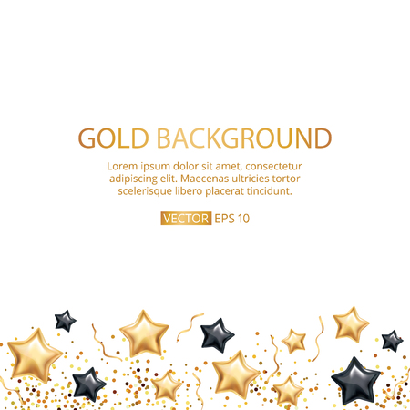 Gold stars balloon background. Black star Merry Christmas Happy New Year 2018. Golden shine balloons. Backdrop decoration, gift, happy birthday party, children bedroom, anniversary, show. 向量圖像