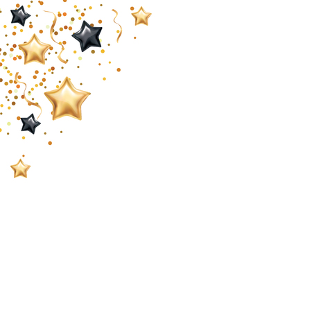 Gold black star background, banners. Golden banner scatter sparkles, shine glitter banner.