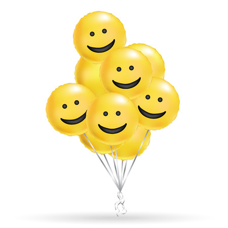 Yellow smiley balloons background. Fun character people, bright balloon. Smiley, Funny friends, comic text, humor message, Greeting card, motivation design, laughing face. Çizim