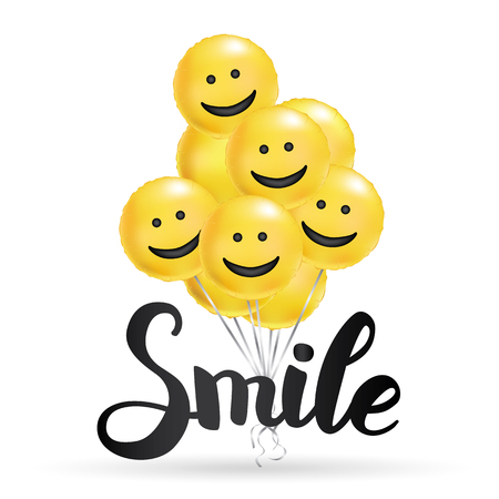 Smile yellow balloons background. Fun character people, bright balloon. Smiley, Funny friends. Comic text, humor message, Greeting card, motivation design, Laughing face. Positive mood poster banner Zdjęcie Seryjne - 92434242