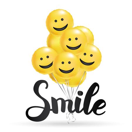 Sourire fond de ballons jaunes. Personnage amusant, ballon lumineux. Smiley, amis drôles. Texte comique, message d'humour, carte de voeux, design de motivation, visage riant. Bannière affiche d'humeur positive Vecteurs
