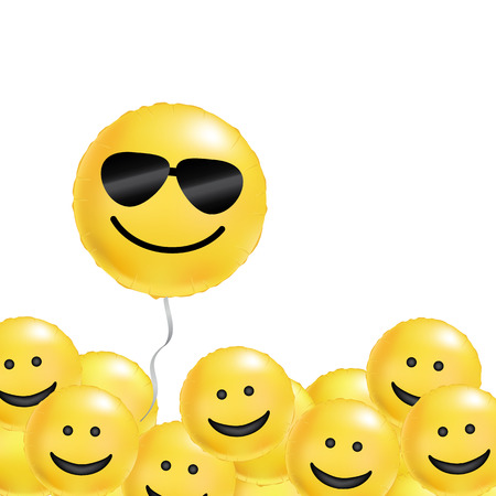 Yellow balloons cool smile. Smiling emoticon black sunglasses, emoji. Yellow balloon smile background. Fun character people, bright smiley. Comic text, humor message, corporate culture, hierarchy