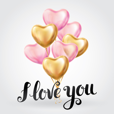 Happy Valentines day gold pink lettering balloons. I love you. Valentines day card. Gold background flyer, poster, sign, banner, web header. Abstract golden light blur shine background text, letters.