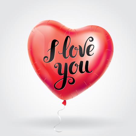 Ame o balão do coração vermelho da carta do ouro. Fundo Golden sparkles. Feliz Dia dos namorados. Eu te amo. Fundo de ouro para cartão, sinal, banner, convite. Texto, tipo, rotulação de caligrafia. Foto de archivo - 92439059