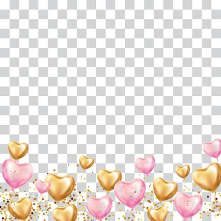 ハートバルーンの背景。ハートゴールドピンク透明バルーンの背景。ラブパーティーバルーンイベントデザイン。ゴールデンバルーンロマンチック  イラスト・ベクター素材