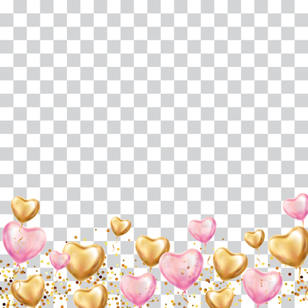 Heart balloon background. Heart Gold pink transparent balloon background. Love party balloons event design. Golden Balloons romantic. Party decorations, happy birthday, Valentines day, 14 february