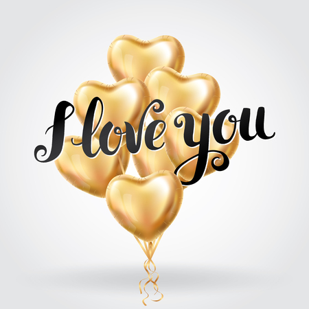 Happy Valentines day gold letter balloons. I love you. Valentines day card. Gold background flyer, poster, sign, banner, web header. Abstract golden light blur shine background text, letters. Illustration