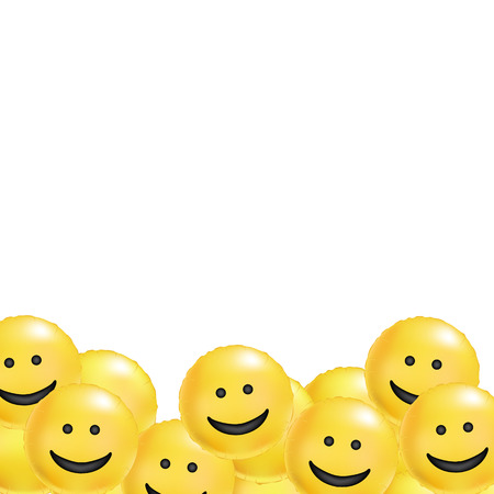 Yellow balloons smile background. Fun character people, bright balloon. Smiley, Funny friends comic text, humor message, greeting card, motivation design, laughing face, cheerful emoji multitude.