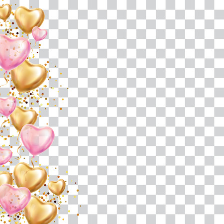 Gold Heart balloon valentines day. Pink Hearts balloon on background. Party decoration, event design, balloons for wedding, invitation, birthday, celebration. Greeting card, you are invited Illustration