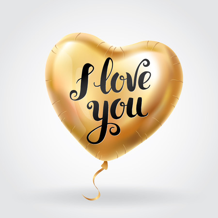 Gold Heart balloon I love you. Gold Heart balloon typography. Party gift, event design, balloons for wedding, invitation, birthday, valentines day, 14 february. Valentine Greeting card Illustration