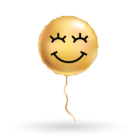 Smile gold balloons. Fun bright golden balloon. Smiley icon, Funny character, inflatable air. Greeting card, friend message, motivation design.  Humor icon, positive mood. Illustration