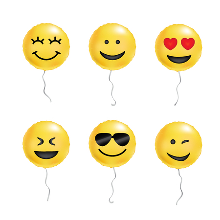 Yellow Balloons Cool Smile Smiling Emoticon Black Sunglasses