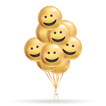 Smile gold balloons background. Fun character people, golden balloon. Smiley, Funny friends. Comic text, humor message, Greeting card, motivation design. Positive mood poster banner.
