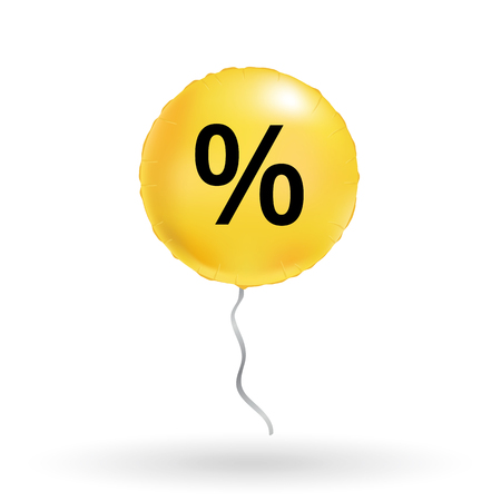 Fondo amarillo del globo de la venta para el descuento, banderas de la tienda, publicidad, compras. señal, simbolo Super oferta especial final globos, venta, encabezado web banner precio abstracto