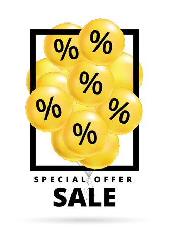 Sale balloons yellow. Special offer balloon poster, low price banner, Discount flyer. Holiday percentage wallpaper, Shopping template. Design for business, fashion, beauty, web shop, black friday