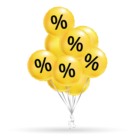 Sale yellow balloons with percentage signs.