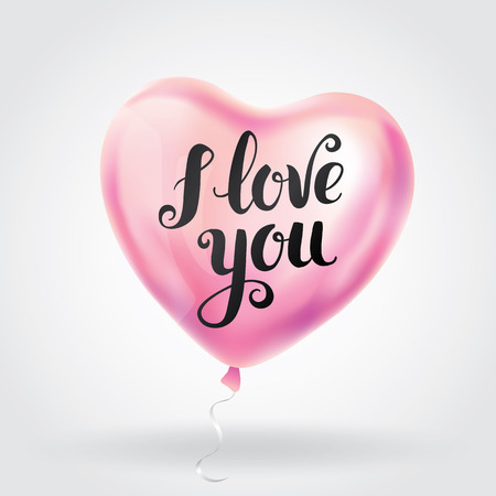 pink heart balloon I love you. Happy valentines day.greeting card, sign, banner, Valentine Shine calligraphy text, type, typography. 14 February. romantic Love Greeting card, Lovely gift balloons.