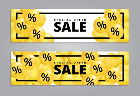 Sale balloons yellow. Special offer balloon poster, low price banner, Discount flyer. Holiday percentage wallpaper, Shopping template. Design for business, fashion, beauty, web shop, black friday.