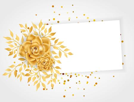 ゴールドラインフローラル招待状 写真素材