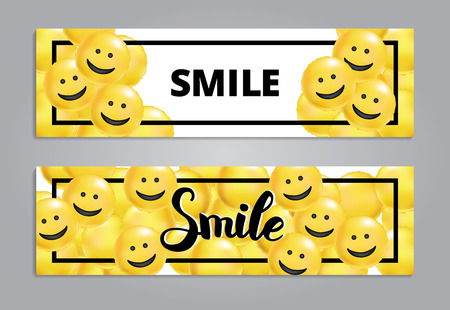 Smile yellow balloons background Vectores