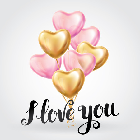 Happy Valentines day gold pink balloons Stock Photo