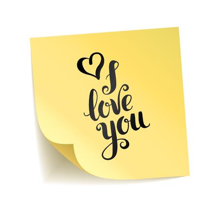 Let op gele sticker hou van je. Stockfoto