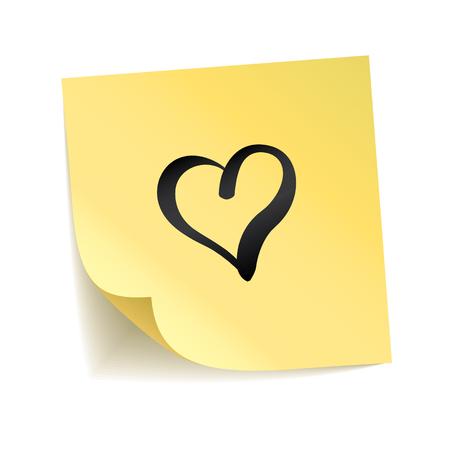 노란색 스티커 심장 사랑해. 해피 발렌타인 데이, 사랑스러운 상징. 막대기에 인쇄술. 투명 한 배경, 그림자, 게시판입니다. 스티커 메시지, 그래픽 텍