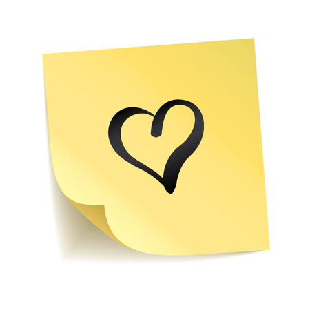 Note yellow sticker heart i love you. Happy Valentines day, lovely symbol. Typography  on stick. Transparent background, shadow, notice board. Sticky message, graphic text. Happy notice Banco de Imagens