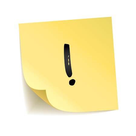 Note yellow sticker exclamation point. Information notise, alarm sign. Typography logo on stick. Transparent background, shadow, memory board. To do list. Sticky message, graphic text. Happy notice Stok Fotoğraf