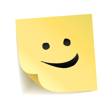 Note yellow sticker smile.  stick on transparent background. Smiling happy face, cute emoticon. Laughter notice, Happy day, thank you poster. smiley emoji trendy design