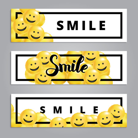 Smile yellow balloons background  イラスト・ベクター素材