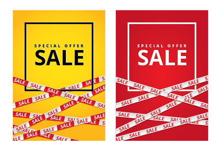 Red and yellow sale tape ribbon card Vettoriali