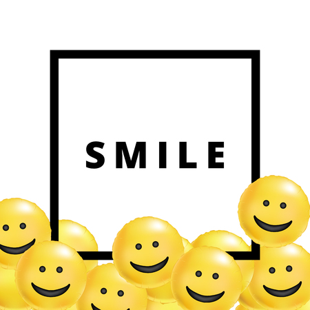 Smile yellow balloons background Stock Photo