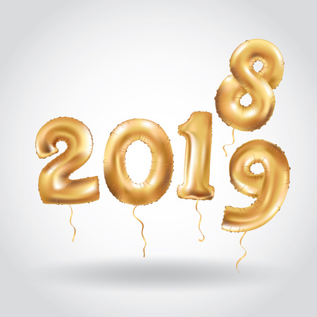 Happy New Year 2018 2019 year after year. Metallic Gold Balloons. Golden Letter Balloon, 2019 Happy new year, Gold Number, event, Balloons. Christmas celebration, decoration, golden sparkles. Vector Illustration