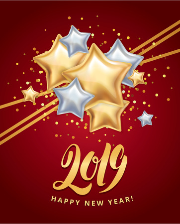 Gold and silver stars New Year design template