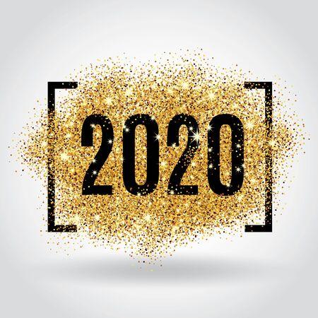 Oro brillo año nuevo Ilustración de vector