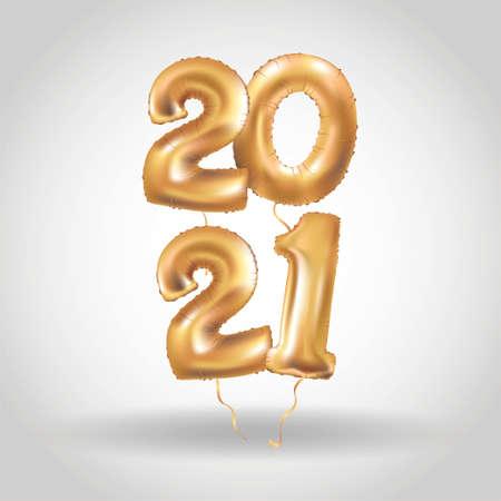Happy new year Metallic Gold Balloons 2021