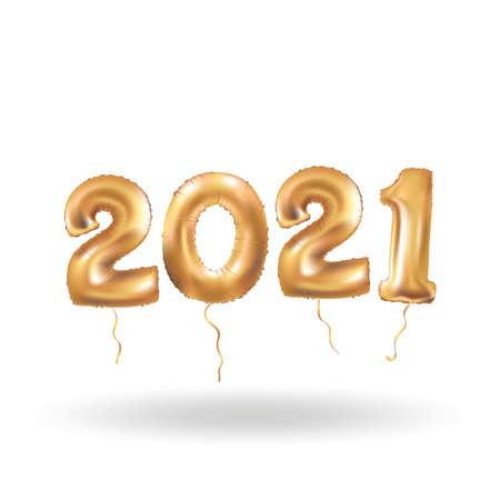 Happy new year Metallic Gold Balloons 向量圖像