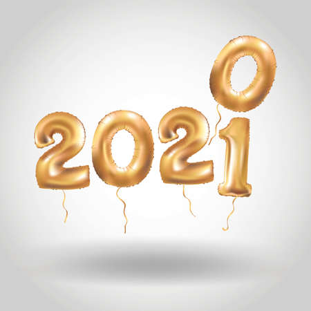 Happy New Year 2020 2021 gold balloons banner