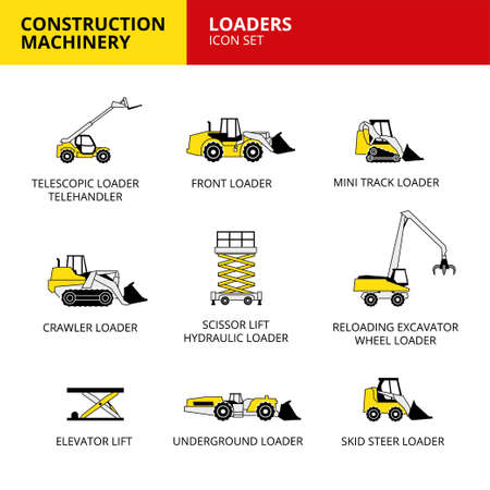 vehicle and transport construction machinery icons set