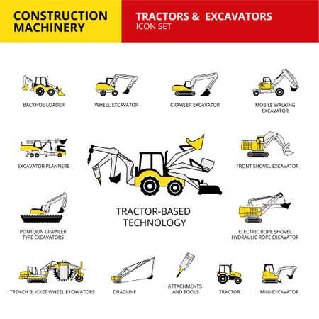 Tractor-based vehicle construction machinery transport icons set 向量圖像