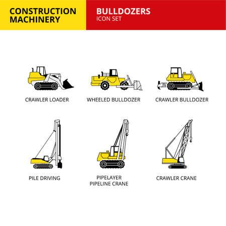 bulldozer vehicle and transport construction machinery icons set