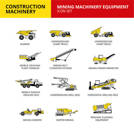Mining machinery equipment vehicle construction machinery transport icons set 向量圖像